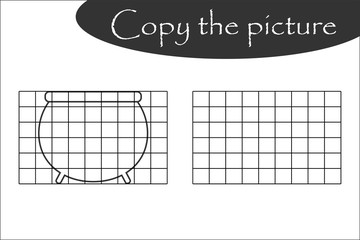 Copy the picture, halloween black white pot, drawing skills training, educational paper game for the development of children, kids preschool activity, printable worksheet, vector illustration