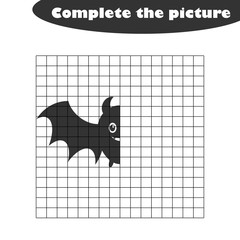 Complete the picture, bat in cartoon style, drawing skills training, educational paper game for the development of children,  kids preschool activity, printable worksheet, vector illustration