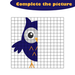 Complete the picture, owl in cartoon style, drawing skills training, educational paper game for the development of children,  kids preschool activity, printable worksheet, vector illustration
