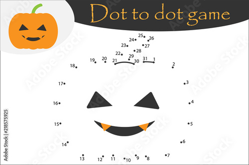 Pumpkin In Cartoon Style Halloween Dot To Dot Game Coloring Page