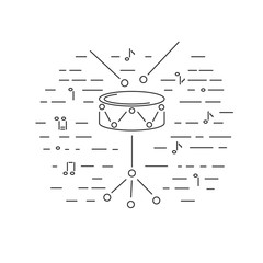 Drum icon isolated on background. Line style. Vector illustration