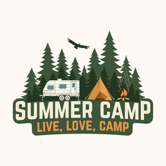 Summer camp. Vector illustration. Concept for shirt or logo, print, stamp or tee.