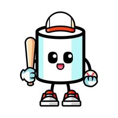 Marshmallow play baseball