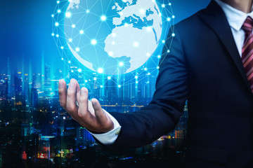 Wall Mural - Business man with global network connection concept