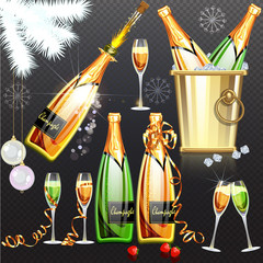 Champagne holiday flat set vector illustration on transparent background