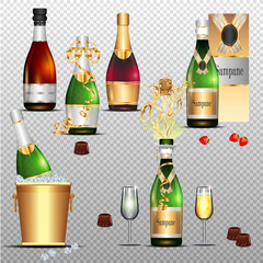 Champagne holiday colorful flat set on transparent background