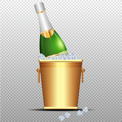festive cold bottle of champagne in ice bucket on transparent background