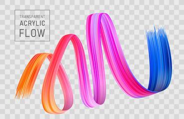 Colorful flow poster transparent. Brushstroke wave