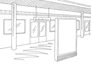 Railway station platform train billboard graphic black white sketch illustration vector