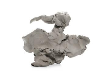 Grey modelling clay shape isolated on white background