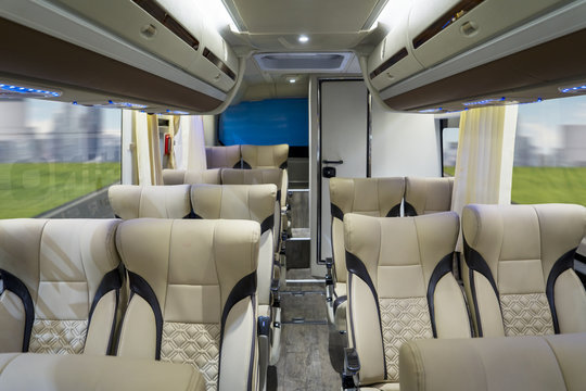 Luxury bus interior with comfortable seats