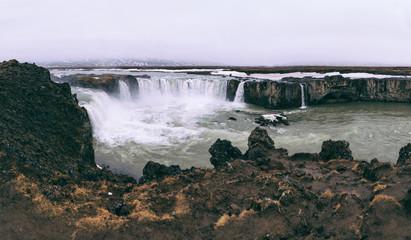 Godafoss waterfall panoramic view