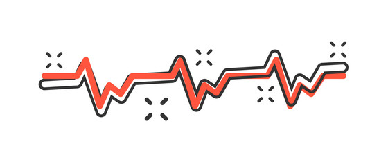 Vector cartoon heartbeat line with heart icon in comic style. Heartbeat concept illustration pictogram. Heart rhythm business splash effect concept.