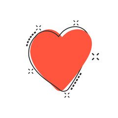 Vector cartoon hand drawn heart icon in comic style. Love sketch doodle heart illustration pictogram. Handdrawn valentine business splash effect concept.