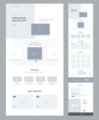 One page website design template for business. Landing page wireframe. Flat modern responsive design. Ux ui website: home, features, collection,  products, testimonials, offers, blog, contacts.