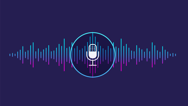 Concept of voice recognition. Sound wave with imitation of voice, sound and microphone icon.