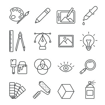Graphic and web design related icons: thin vector icon set, black and white kit