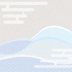 エ霞と青海波文様。 和風の背景素材。