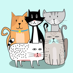 Cute cat gang with hand drawn cartoon