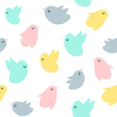 Vector seamless pattern with birds. Scandinavian motives. Baby print.