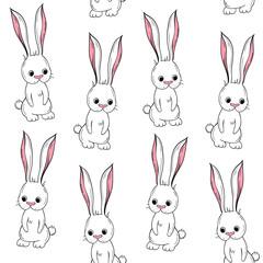 Vector seamless pattern Cute rabbit. Scandinavian motives. Cartoon background. Children's print