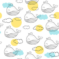 Vector seamless pattern with whales. Scandinavian motives. Baby print. Cute whale