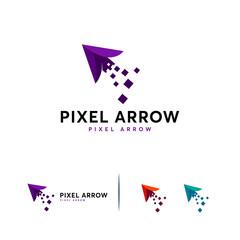 Pixel Arrow logo designs concept vector, Pixel Cursor logo template