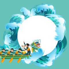Dragon boat racing flat poster vector illustration