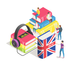 Learning foreign languages concept. People and english french dictionary, textbooks. Studying spanish german online. Education vector background