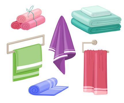 Household towels. Cotton bathroom hygiene towel vector isolated set