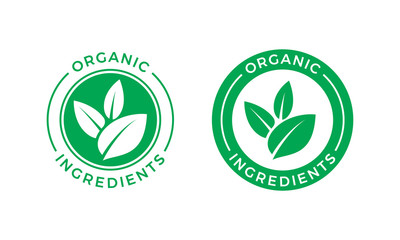 Organic ingredients green leaf vector label icon Wall mural