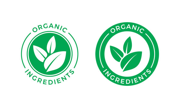 Organic ingredients green leaf vector label icon