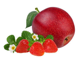 Fresh strawberries and apples with leafs and flowers isolated on white background with clipping path