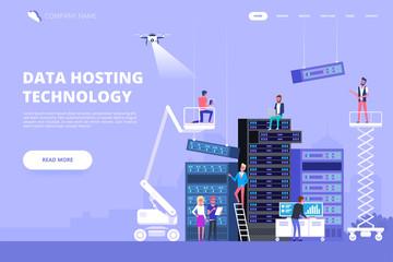 Data center and hosting. Network internet database