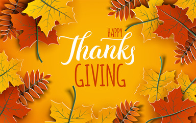Happy Thanksgiving holiday 3d banner with congratulation text. Autumn tree leaves frame, yellow background. Autumnal design for fall season greeting card, paper cut out art style, vector illustration