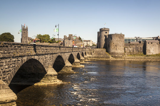 King John's Castle and Thomond Bridge, Limerick. Ireland