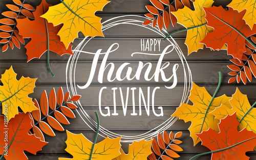 Hy Thanksgiving Holiday Banner With Congratulation Text On Frame