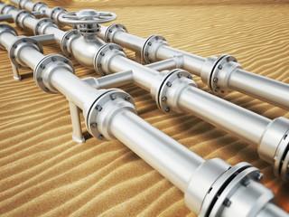Oil pipeline on desert sand. 3D illustration