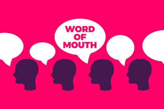 Word of mouth - organic spread of information through social talking and speaking by people in the society. Vector illustration of oral promotion and reference