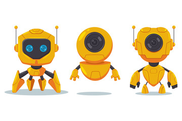 Cute robot and cyborg vector flat cartoon character set isolated on white background.