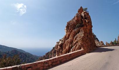 Piana cliff road in Corsica