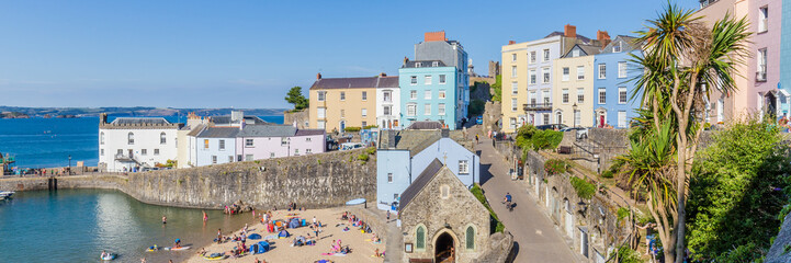 Panoroma of Tenby on a hot summer day, Wales, UK. A picturesque and colorful village on the coast of Wales.