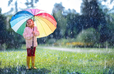 Happy Child With Rainbow Umbrella Under Rain  Wall mural