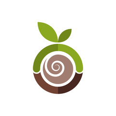 Abstract green apple logo template. Spiral brown seed inside the apple. Vector illustration.
