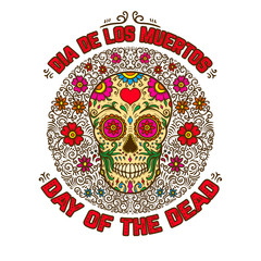 mexican sugar skulls with floral pattern background. DAY OF THE DEAD. Design element for poster, greeting card, banner, t shirt, flyer, emblem.