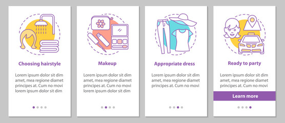 Getting ready for party onboarding mobile app page screen with l