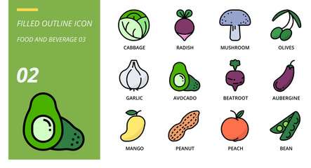 Filled outline icon pack for food and beverage, cabbage, radish, mushroom, olives, garlic, avocado, beetroot, aubergine, mango, peanut, peach, bean
