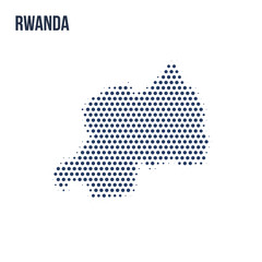 Dotted map of Rwanda isolated on white background.