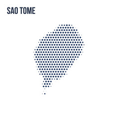 Dotted map of Sao Tome isolated on white background.