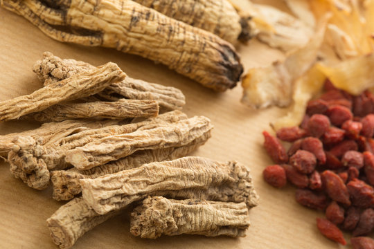 Traditional Chinese herbal health medicine ginseng.